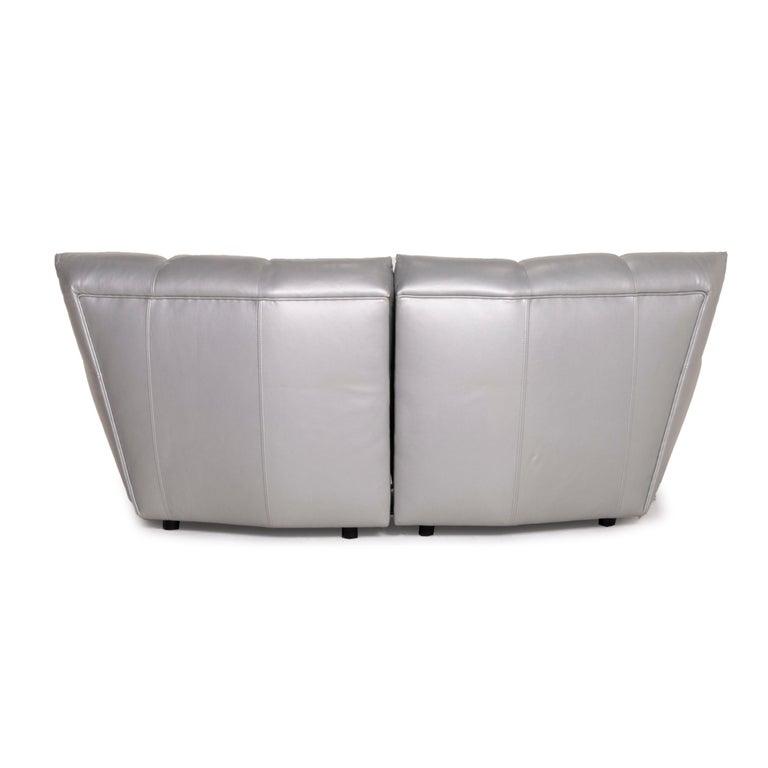 Bretz Cloud 7 Leather Sofa Silver For Sale 3