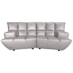 Bretz Cloud 7 Leather Sofa Silver