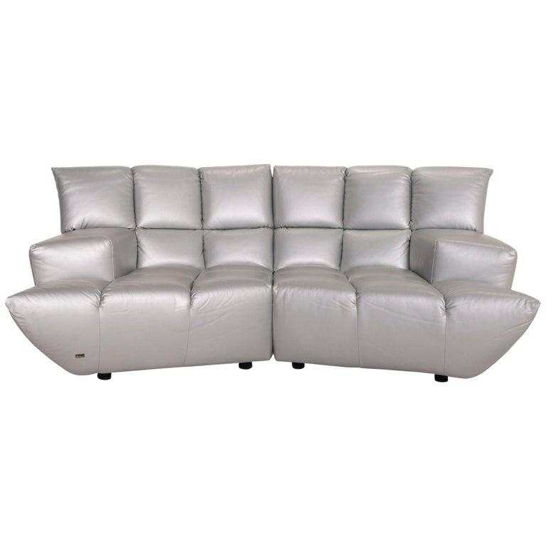 Bretz Cloud 7 Leather Sofa Silver For Sale