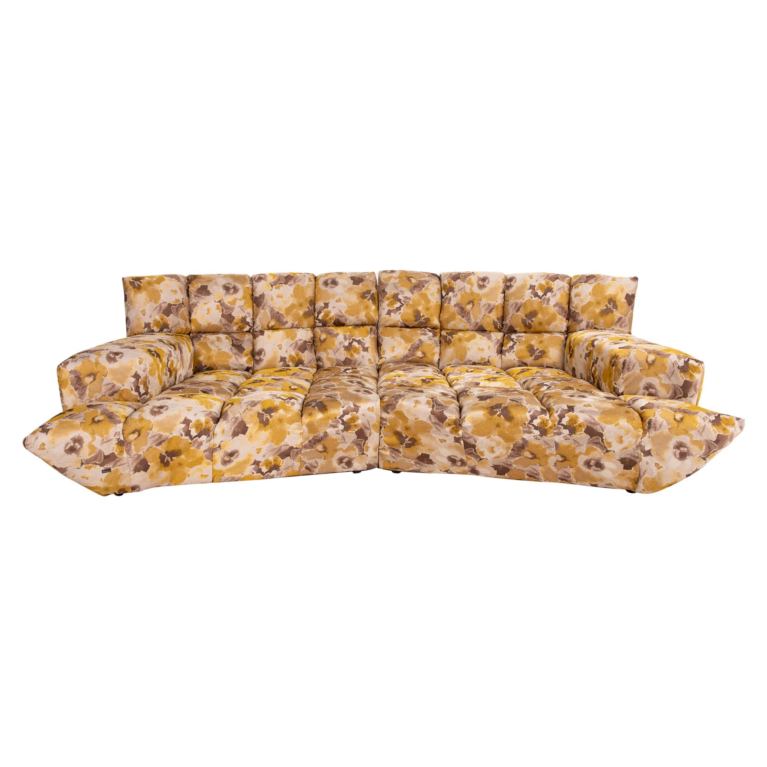 Bretz Cloud 7 Velvet Fabric Corner Sofa Yellow Gold Brown Sofa Couch Modular