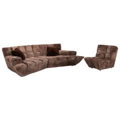 Bretz Cloud 7 Velvet Fabric Sofa Set Brown 1 Corner Sofa 1 Armchair