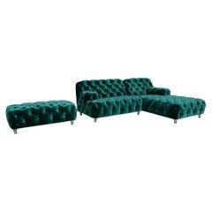 Bretz Cocoa Island Fabric Sofa Set Green 1x Corner Sofa 1x Stool Emerald Green