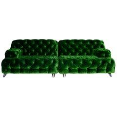 Bretz Cocoa Island Velvet Fabric Sofa Green Four-Seat Couch