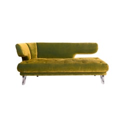 Bretz Croissant Velvet Fabric Sofa Green Two-Seat Couch