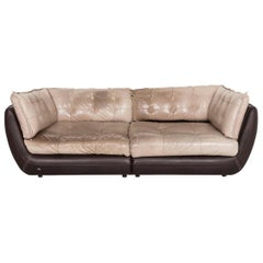 Bretz Cupcake Jepard Leather Sofa Brown Beige Four-Seat Couch
