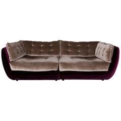 Bretz Cupcake Velvet Fabric Sofa Beige Five-Seat Couch