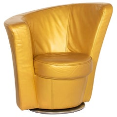 Bretz Eves Island Leather Armchair Gold Lounge Chair Swivel