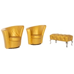 Bretz Eves Island Leather Armchair Set Gold 2 Armchair 1 Stool Swivel