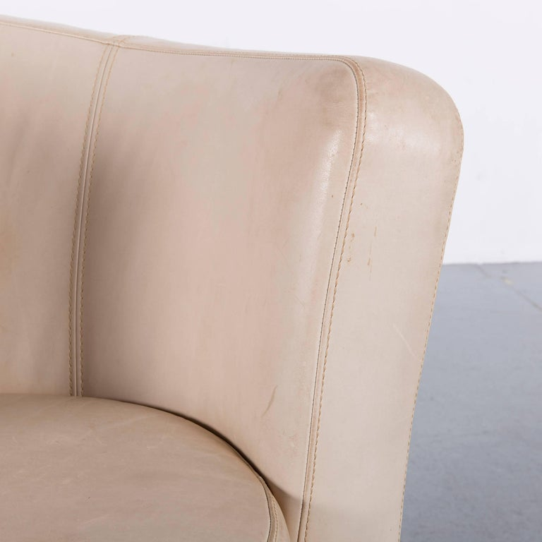 Bretz Eves Island Leather Armchair Set Off-White One-Seat In Fair Condition In Cologne, DE