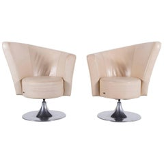 Bretz Eves Island Leather Armchair Set Off-White One-Seat