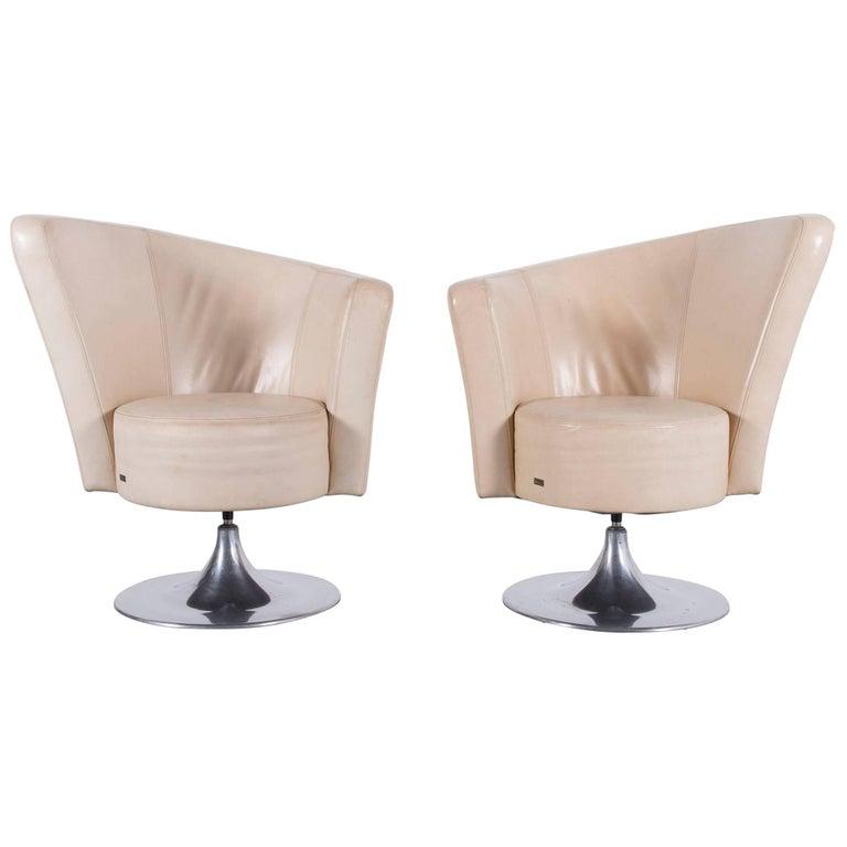 Bretz Eves Island Leather Armchair Set Off-White One-Seat