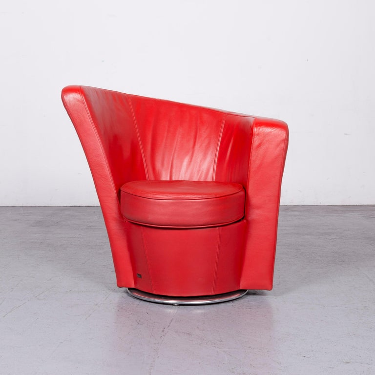 German Bretz Eves Island Leather Armchair Set Red One-Seat Chair