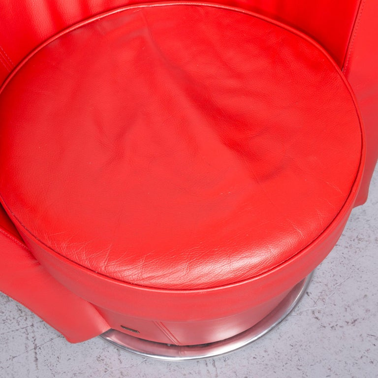 Bretz Eves Island Leather Armchair Set Red One-Seat Chair In Fair Condition In Cologne, DE