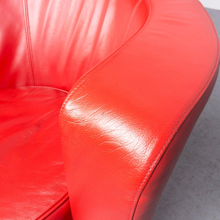 Contemporary Bretz Eves Island Leather Armchair Set Red One-Seat Chair