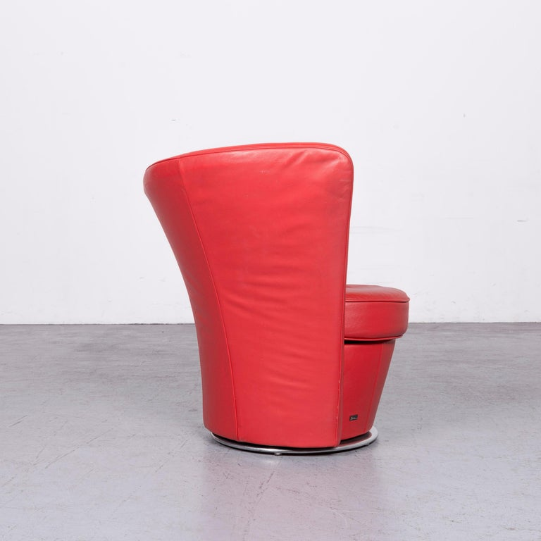 Bretz Eves Island Leather Armchair Set Red One-Seat Chair 2