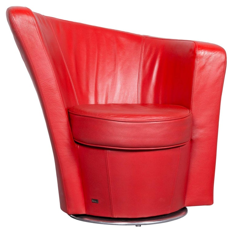 Bretz Eves Island Leather Armchair Set Red One-Seat Chair