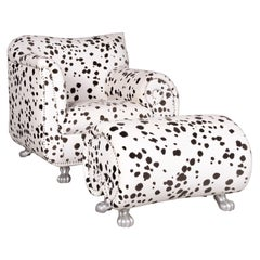 Bretz Gaudi Designer Fabric Armchair White Dalmatian Pattern Chair with Stool