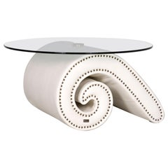 Bretz Gaudi Designer Leather Glass Coffee Table White