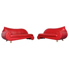 Bretz Gaudi Designer Leather Sofa Set Red Three-Seat Couch