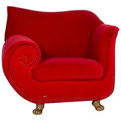 Bretz Gaudi Fabric Armchair Red