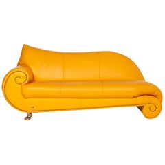 Bretz Gaudi Leather Sofa Yellow Three-Seat Couch Gold-Plated