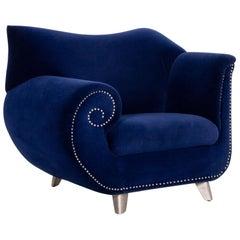 Bretz Gaudi Velvet Fabric Armchair Blue Dark Blue