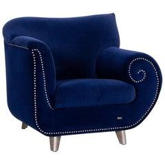 Bretz Gaudi Velvet Fabric Armchair Dark Blue Blue