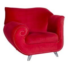 Bretz Gaudi Velvet Fabric Armchair Red