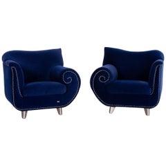 Bretz Gaudi Velvet Fabric Armchair Set Dark Blue 2 Armchair