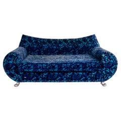 Bretz Gaudi Velvet Fabric Sofa Blue Three Seater Sofa