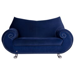 Bretz Gaudi Velvet Fabric Sofa Blue Two-Seat Couch