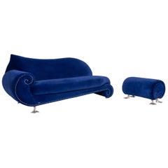 Bretz Gaudi Velvet Sofa Set Blue Two-Seat Stool