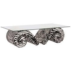 Bretz Glass Velvet Fabric Coffee Table Zebra Pattern Black White