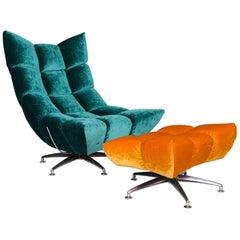 Bretz Hangout Velvet Fabric Armchair Set 1 Armchair 1 Stool