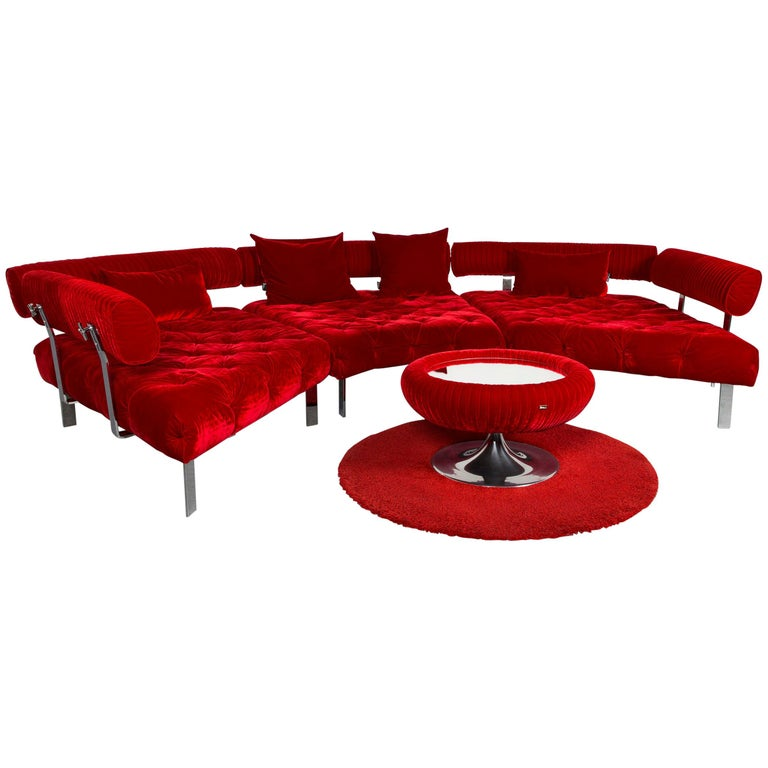 Bretz Highland Designer Fabric Sofa footstool Set Red Corner Sofa ...