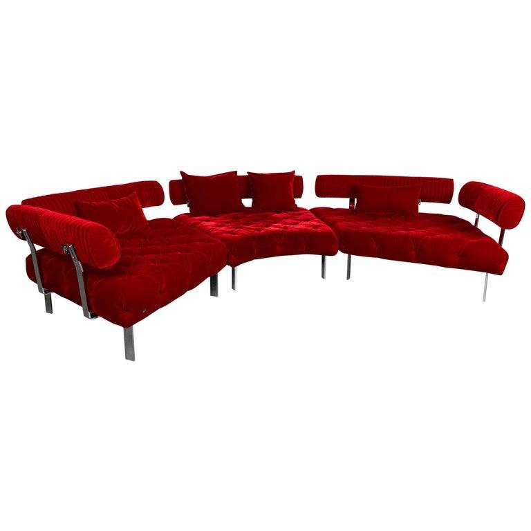 Bretz Highland Designer Fabric Sofa Red Corner Sofa Couch