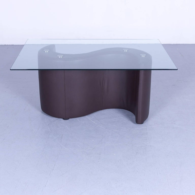 Bretz Jeanie Designer Coffee Table Chocolate Brown Leather Body With Gl Top In A Minimalistic