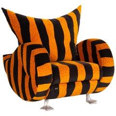 Bretz Knastente Fabric Armchair Yellow Black Tiger Pattern