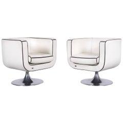Bretz Leather Armchair Set White One-Seat Club Chair