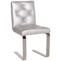 Bretz Marilyn Leather Chair Silver Chrome