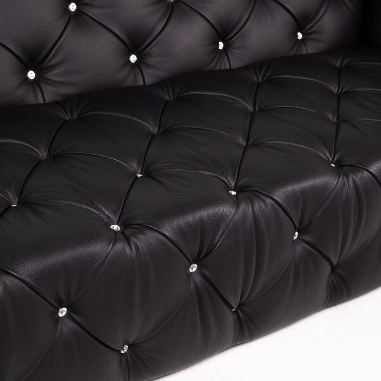 Modern Bretz Marilyn Leather Sofa Black Three Seater Couch For Sale