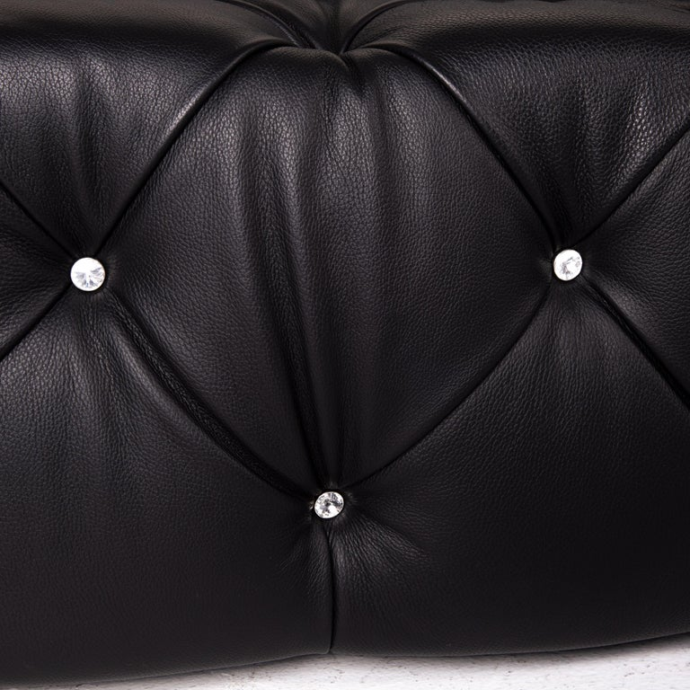 German Bretz Marilyn Leather Sofa Black Three Seater Couch For Sale