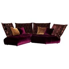 Bretz Matilda Velvet Fabric Corner Sofa Purple Patterned Sofa Couch