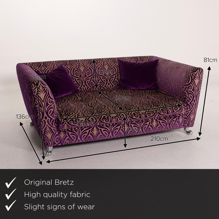 We present to you a Bretz Monster Fabric sofa purple three-seat.     Product measurements in centimeters:    Depth 136 Width 201 Height 81 Seat height 44 Rest height 81 Seat depth 110 Seat width 150 Back height 37.