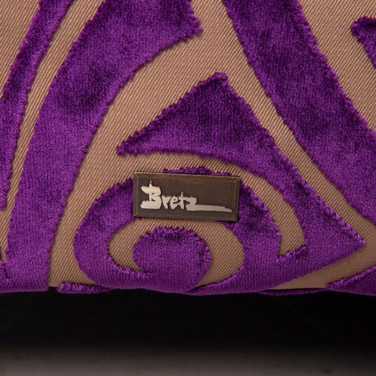 Contemporary Bretz Monster Fabric Sofa Purple Three-Seat