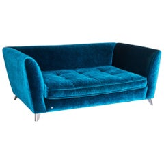 Bretz Monster Velvet Sofa Blue Three-Seat Couch Velours Huge Sofa