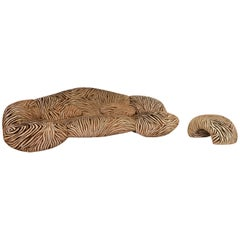 Bretz Mumba Fabric Sofa Set Brown 1 Three-Seat 1 Stool Patterned Animalprint