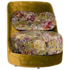 Bretz Napali A 126 Velvet Fabric Armchair Green Pattern 360 Degree Swivel