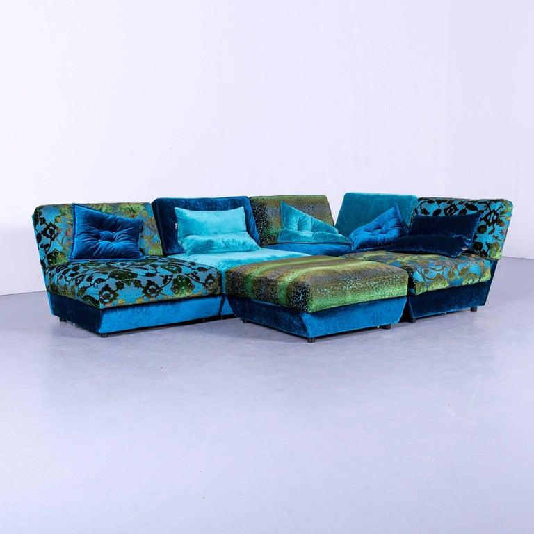 Bretz Napali Designer Corner Sofa Blue Turquoise Velours