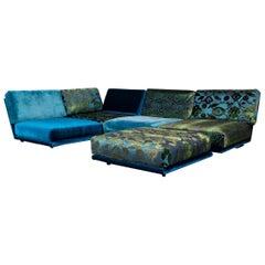 Bretz Napali Designer Corner Sofa Blue Turquoise Velours Fabric Modern Couch